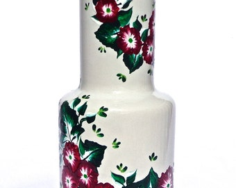 Hand Painted White Vase With Red and White Flowers, Hand Painted Vase