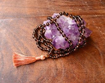 108 Mala Beads Knotted Smoky Quartz Gemstone Prayer Beads Mantra Meditation Tassel Necklace Spiritual Jewelry Yoga Beads Rosary Buddhist