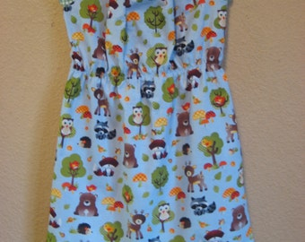 Ready to ship~ Woodland Creatures Peasant Dress