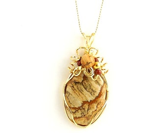 Yellow and Gold Color Wire Wrap Jasper Pendant Necklace, Picture Jasper Necklace, Gemstone Jewelry, Gifts, Cameo Shape