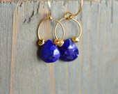 Lapis Earrings. Blue and Gold Gemstone Dangles. Lapis Lazuli Gold Fill Earrings. Minimal Delicate Blue Stone Hoop Jewelry. Bridal Earrings