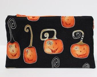 Halloween Zipper Pouch. Black Duck Canvas. Pumpkin Pencil Bag. Coin Purse. Jack O Lantern Makeup Bag. Lightweight, Slim. Black, Orange.