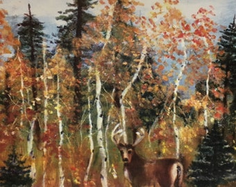 Deer in the Autumn forest  oil painting print blank card (WL35)