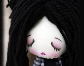 Creepy cute goth doll Lucy handmade zombie goth cloth doll with closed eyes and skulls. Goth rag doll. Goth cloth doll