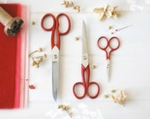 Scarlet Red Scissors - Red Shears - Fabric Scissors - Sharp Scissor, Beutiful Scissor - Wool Felt Scissors - 3 Pack - Once of each size