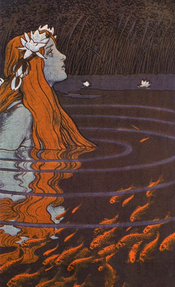 art nouveau mermaid among goldfish  fairy tale vintage digital