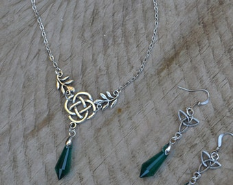 Green celtic necklace, celtic knot necklace silver Celtic jewelry set, chandelier emerald earrings, emerald crystal necklace