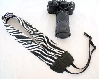 Zebra Black and White Camera Shoulder Neck Strap Padded Adjustable