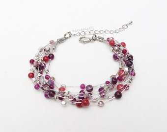 Purple pink stone bracelet with crystal, silver plated beads on silk thread, multi strands bracelet