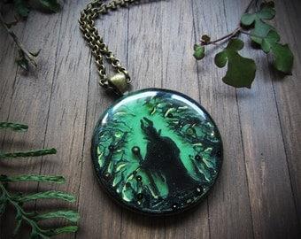 Maleficent in Forest Round Bronze Pendant ~~ dark fairy pendant, dark forest, enchanted forest, witch, sorceress, diorama necklace
