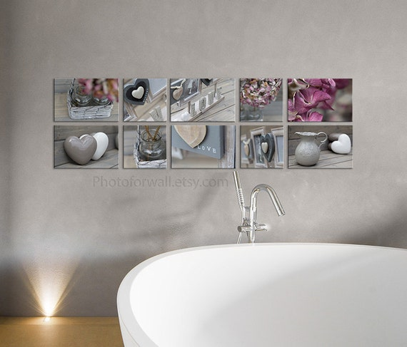 Set of 10 canvas bathroom art grey decor nursery decor pink for Pink grey bathroom accessories