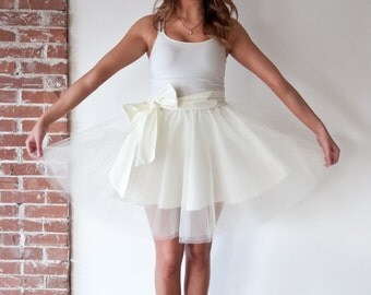 Cream Tulle Skirt with Bow
