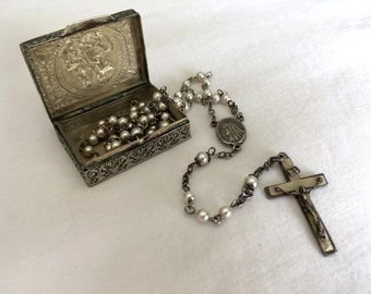 Vintage Saint Georgios Embossed 800 Silver Rosary Box with Faux Pearl Rosary Beads with Crucifix