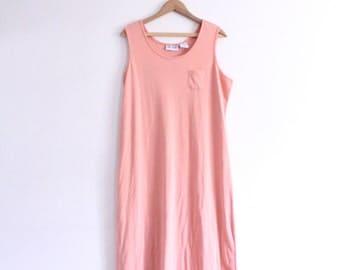 Minimal Salmon Pink 90s Maxi Dress