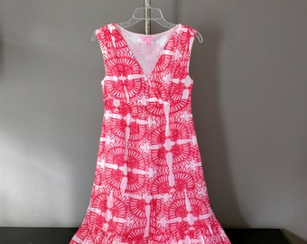 Lilly Pulitzer Dress / Cotton and Silk Size 4 Skyla Island Coral Print Dress