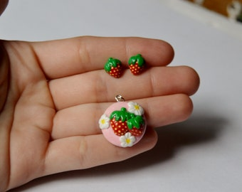Strawberry Earrings Strawberry Stud Earrings Strawberry Jewelry Set Polymer Clay Strawberry Earrings Fruit Earrings Fruit Jewelry