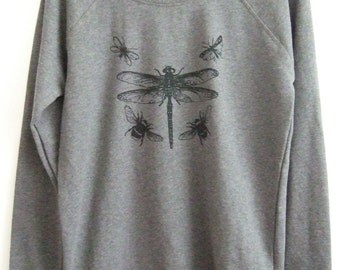 Dragonfly Dark grey Womens organic cotton printed sweatshirt