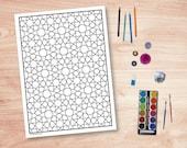 DIY Geometric Colouring Page, Muslim Art Design #2