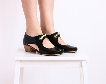 Women's shoes ,Black Pumps with cutout detail heels , handmade ADIKILAV ON SALE 20%