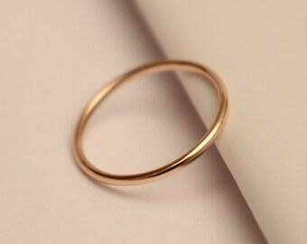 14k pink gold ring, 14k rose gold ring, 14k rose gold band ring, 14k thumb ring, 14k knuckle ring, 14k stack ring, 14k full round ring