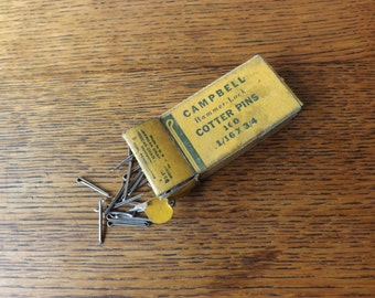 Cotter Pins ~ Campbell Hammer-Lock ~ 1/16 x 3/4 ~ 1940s ~ Shop Supplies ~ Vintage Garage ~ Industrial ~ Garage Advertising Graphic
