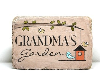 Custom Garden Stone. 6x9 Personalized Outdoor Decor. Rustic tumbled concrete paver. Garden Sign. Grandma's Garden. Mothers Day. Birthday