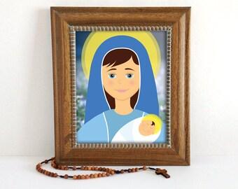 Madonna and Child   Mother Mary Catholic Art   8x10 Print