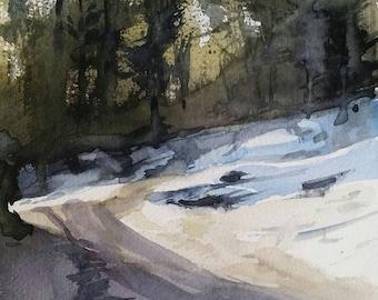 Landscape Painting, Landscape Art, Landscapes, Original Watercolor 7 x 9.5