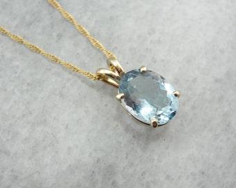 Blue Baby, Aquamarine Gemstone Necklace in Yellow Gold LWWJ27-N