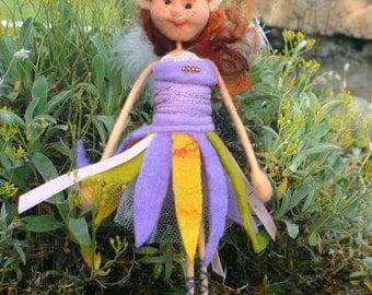 quirky little felted  fairy,merino wool fairy,felted wool fairy,light doll fairy,purple fairy,fibre felt fairy Dorothy