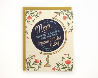 Mom Globe - Distance Mom - Mother's Day greeting card / MOM-GLOBE