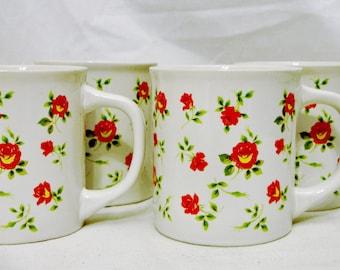 Four MUGS Beautiful Rosebuds & Foliage Design  8-Ounce  (236.59ml) Size Ceramic Construction-Made in Japan