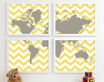 Travel Theme Nursery Etsy - Boys room with maps