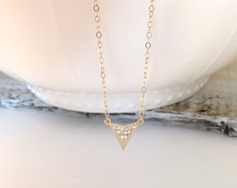 Glossy Gold Pave Triangle Necklace, Inverted Triangle CAZ Necklace, Gold V CZ Necklace, Gift for Mom, Everyday Jewelry