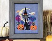 Halloween Cat - black cat witch cross stitch pattern PDF - Instant download