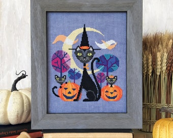 Halloween Cat - black cat witch - Satsuma Street cross stitch pattern PDF - Instant download