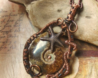Wire Wrapped Ammonite and Starfish Necklace