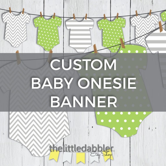 Baby Shower Custom Banners: Custom Printable Onesie Baby Shower Banner Baby Onesie One