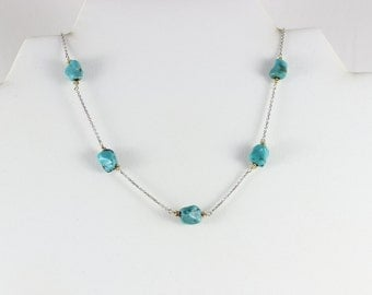 14k White Gold Turquoise Nugget Necklace 18 1/2 inch chain