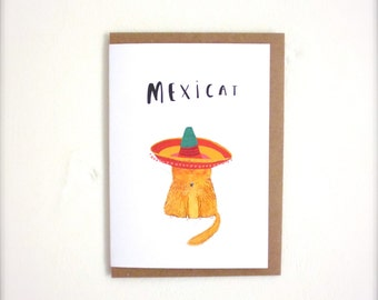 Mexicat any occasion illustrated Greetings card