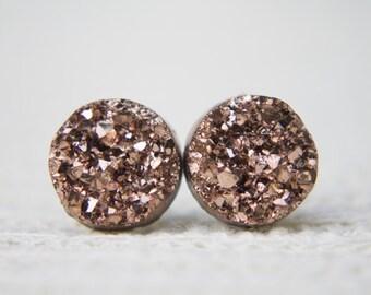Gold Druzy Earrings, Faux Druzy Earrings, Druzy Jewellery,  Glitter Earrings, Glitter Studs, Sparkle Earrings