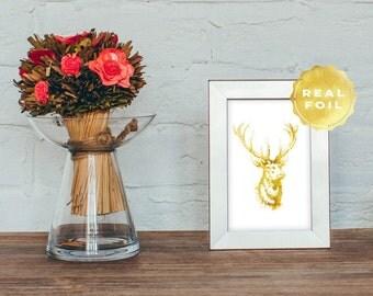 Deer Head Print 4x6 - 5x7- Gold Foil - Gold Leaf Deer - Rustic Chic Decor - Buck Print - Antler Decor - Deer Antler - Home Decor