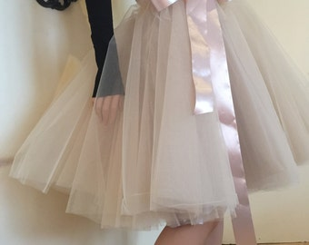 beige nude Tea length Tutu Skirt,Tulle Skirt, Princess Skirt, Wedding Skirt -5 layers