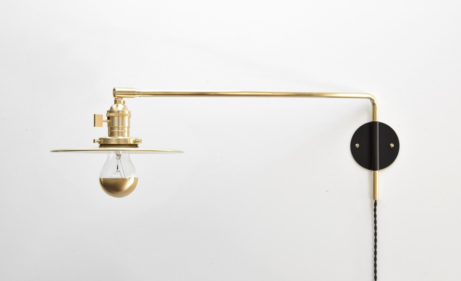 Modern Industrial Brass Swing Arm Sconce 14 20 Or 26