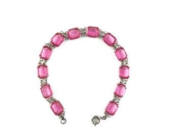 Vintage Art Deco Pink Glass Bracelet Antique Pink Crystal Wedding Bracelet Bridal Jewelry Bridesmaid Gift For Her Birthday Estate Jewelry