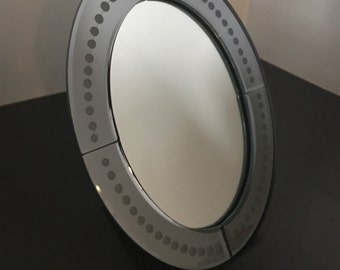 Modern Standing Mirror, venetian glass insprired, etched glass, boudair or vanity accessory, table top