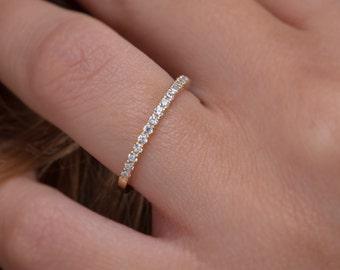 Diamond eternity band,  Eternity ring,  Half around diamond band, Thin diamond ring,  Eternity band, Diamond ring, Diamond  gold band 1.6