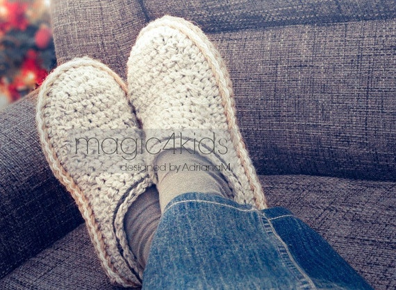 Crochet slippers pattern, men loafers with rope soles,crochet slippers for men, crochet soles
