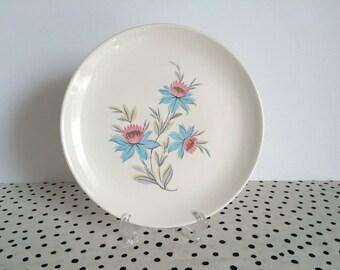 2 Vintage Steubenville Fairlane Dinner Plates, Steubenville Plates, Fairlane Pattern, Pink and Turquoise Flower Plates, 1950s Dinner Plates