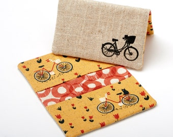 Bicycle Wallet, Fabric Card Holder, ID Card Case - Bike Gift / Accessories
